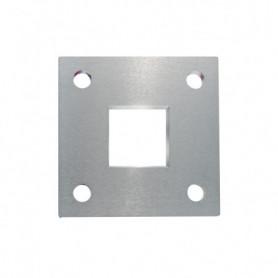 Platine carrée avec trou central carré et 4 trous de fixation brossée 1 face
