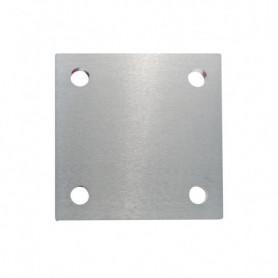 Platine carrée avec 4 trous de fixation brossée 1 face
